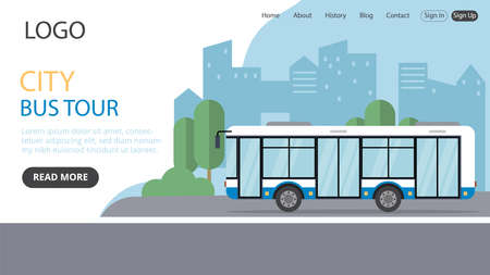 City Bus Tour Vector Illustration. Flat Style Conceptual Composition. Webpage Landing Template Design With Objects And Text. Big Autobus And Cityscape On Background. Writings And Interface Elements