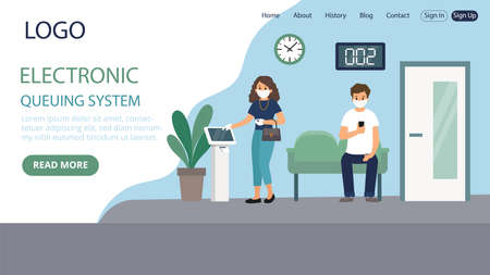 Electronic Queuing System Vector Illustration. Flat Style Conceptual Composition. Webpage Landing Template Design With Objects And Text. Two Characters Wearing Masks At Public Organisation Service Illustration