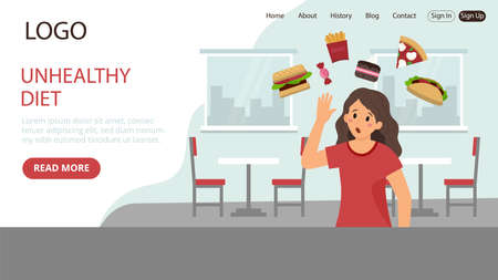 Unhealthy Diet Vector Illustration. Flat Style Conceptual Composition. Webpage Landing Template Design With Objects And Text. Woman Standing, Junk Food Items Around Her, Cafe Or Canteen Background Illustration