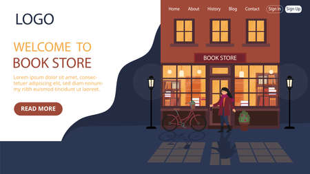 Bookstore Advert Vector Illustration. Flat Style Conceptual Composition. Webpage Landing Template Design With Objects And Text. Woman Entering Library, Late Time Surrounding, Cosy Building Behind