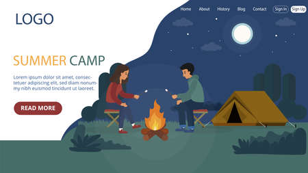 Website Landing Page Template Layout On Summer Camp Concept. Flat Cartoon Style Illustration With Text And Buttons. Two People Sitting Near Fire And Tent. Backpacking Travelling, Nature Landscape