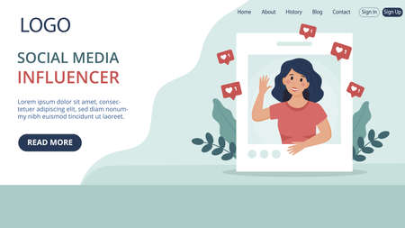 Website Landing Page Template Layout On Social Media Influencer Concept. Flat Cartoon Style Illustration With Text And Buttons. Woman Smiling And Waving Hand Surrounded With Approval Internet Signs