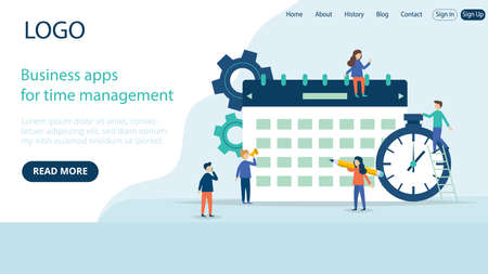 Website Landing Page Template Layout On Business Time Management Application Concept. Flat Cartoon Style Illustration With Text And Buttons. Group Of People Near Big Calendar And Timer Clock Objects Illustration