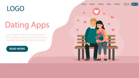 Website Landing Page Template Layout On Dating Application Concept. Flat Cartoon Style Illustration With Text And Buttons. Pink Background With Hearts. Two People Sitting On Bench Together Smiling