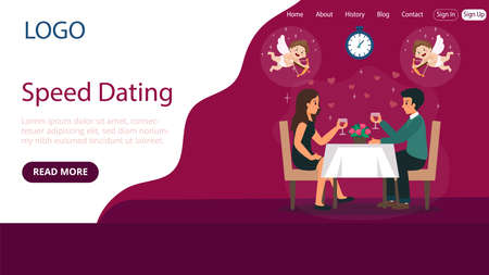 Website Landing Page Template Layout On Speed Dating Concept. Flat Cartoon Style Illustration With Text And Buttons. Two People Sitting At Table And Talking. Pink Background, Hearts And Cupids Around Illustration