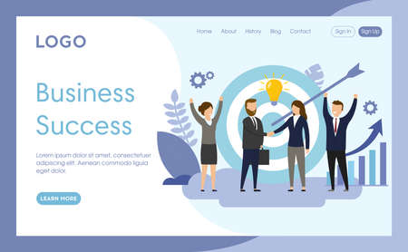 Website Page Template Layout Vector Illustration. Cartoon Flat Style Composition With Objects, Buttons And Writings. Business Success Concept. Group Of People Standing Before Darts And Arrow Element.