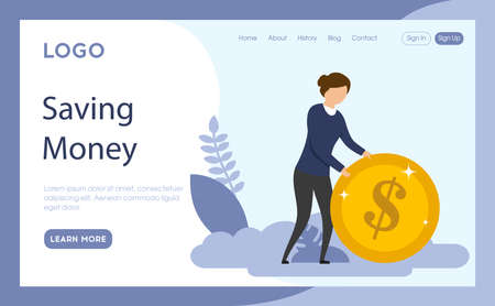 Website Page Template Layout Vector Illustration. Cartoon Flat Style Composition With Objects, Buttons And Writings. Saving Money Concept. Businesswoman Rolling Money Coin. Blue Background And Flowers