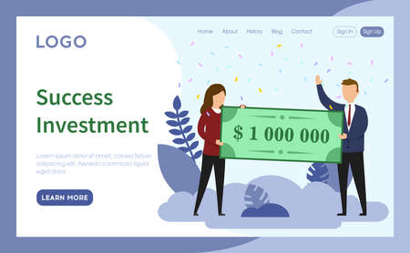 Website Page Template Layout Vector Illustration. Cartoon Flat Style Composition With Objects, Buttons And Writings. Success Investment Concept. Two Business Characters Keeping Big Money Banknote.
