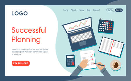 Website Page Template Layout Vector Illustration. Cartoon Flat Style Composition With Objects, Buttons And Writings. Successful Planning Concept. Office Table With Business Work Items And Two Hands