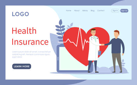Website Page Template Layout Vector Illustration. Cartoon Flat Style Composition With Objects, Buttons And Writings. Health Insurance Concept. Two Characters Shaking Hands. Doctor And Patient Standing