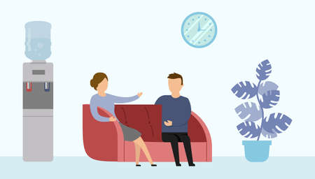 Vector Illustration In Cartoon Flat Style On Blue Background. Office Interior Surrounding. Two Characters Sitting On Couch And Talking. Office Plant, Clock, Water Machine. Work Or Doctor Reception