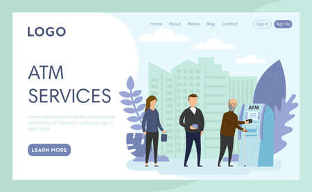 Vector Illustration In Cartoon Flat Style. Landing Page Interface Layout Composition With Characters And Elements. ATM Services Concept Art. Group Of People Standing In Queue, Cityscape Background