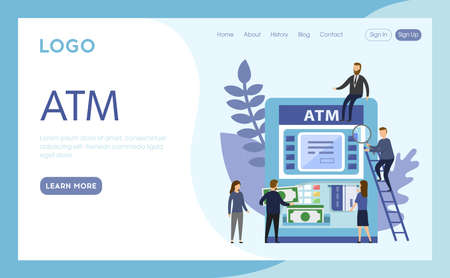 Internet Landing Page With Writings And Objects. Vector Illustration, Flat Cartoon Style. ATM Idea. Group Of People Standing Near Machine. Man Getting Money Banknotes. Blue Background, Design Elements