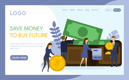 Internet Landing Page With Writings And Objects. Vector Illustration In Flat Cartoon Style. Save Money To Buy Future Idea. Group Of People Standing Near Big Wallet With Coins, Credit Card And Banknote
