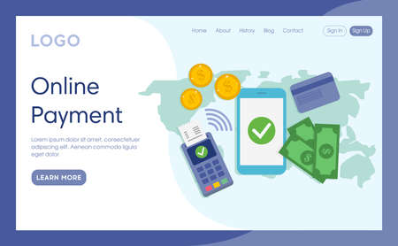 Internet Landing Page With Writings And Objects. Vector Illustration In Flat Cartoon Style. Online Payment Idea Composition. Money Elements Lying. Smartphone, Coins, Credit Card, Banknotes, Terminal Illustration