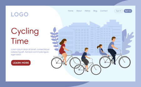 Internet Landing Page With Writings And Objects. Vector Illustration In Flat Cartoon Style. Cycling Time Idea. Group Of People On Bicycles. Family Riding Together With Children. Cityscape Background