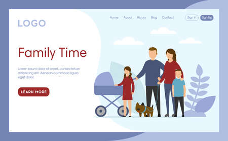 Internet Landing Page With Writings And Objects. Vector Illustration In Flat Cartoon Style. Family Time Idea. Composition With People, Blue Background, Design Elements. Parents And Children Standing