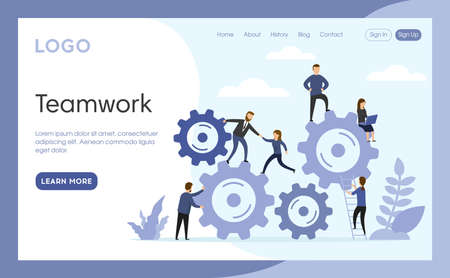 Teamwork Concept Illustration. Vector Composition, Flat Cartoon Style Art. Webpage Landing Interface Template With Writings And Design Elements. Different Business People Near Big Cogwheel Mechanism