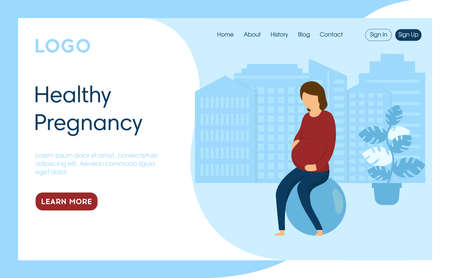 Healthy Pregnancy Concept Illustration. Vector Composition, Flat Cartoon Style Art. Webpage Landing Interface Template With Writings And Design Elements. Woman Sitting On Fitness Ball, Blue Background