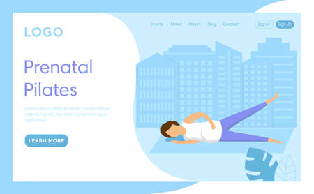 Prenatal Pilates Concept Illustration. Vector Composition, Flat Cartoon Style. Webpage Landing Interface Template With Writings And Design Elements. Pregnant Woman Healthcare, Active Fitness Exercise