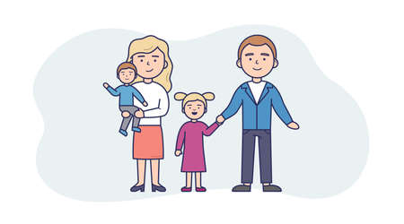 Vector Illustration In Flat Cartoon Style. Linear Composition With Outline. White Background And Characters. People Standing Together. Family Of Four Members. Two Parents With Toddler Son And Daughter