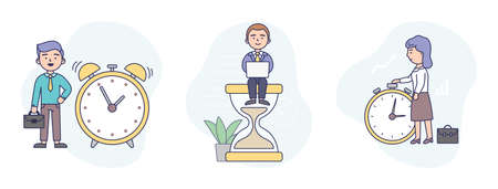 Vector Illustration In Flat Cartoon Style. Linear Composition With Outline. White And Blue Background And Characters. Three Time Management Concept Arts. Office People With Clock, Hourglass And Timer Illustration