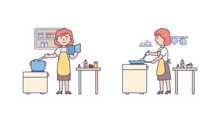 Vector Illustration In Flat Cartoon Style. Linear Composition With Outline. White Background And People. Female Character With Red Hair Wearing Apron Cooking. Kitchen Interior And Surrounding Elements