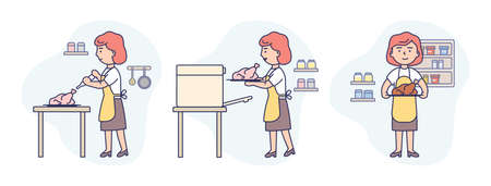 Vector Illustration In Flat Cartoon Style. Linear Composition With Outline. White Background And People. Three Art Scenes Of Woman In Apron Cooking. Female Character Making Chiken In Oven. Baking Step