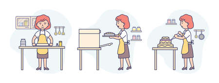 Concept Illustration On White Background. Vector Composition With Characters. Linear Outline And Soft Colours. Woman Wearing Apron Cooking Cake In Three Steps. Baking Instruction For Advertisement