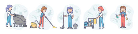 Concept Illustration On White Background. Vector Composition With Characters. Linear Outline And Soft Colours. Art With Five Women From Cleaning Company. Sweepers With Standing Different Appliances Illustration