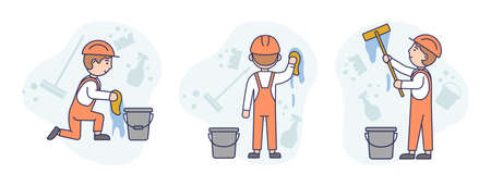 Concept Illustration On White Background. Vector Composition With Characters. Linear Outline And Soft Colours. Three Male Workers In Orange Protective Helmets And Overalls Washing Wall. Clean Elements