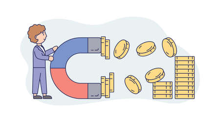 Concept Illustration On White Background. Vector Composition With Character. Linear Outline And Soft Colours. Man Wearing Business Office Suit Keeping Magnet To Attract Coins. Money Earning Concept
