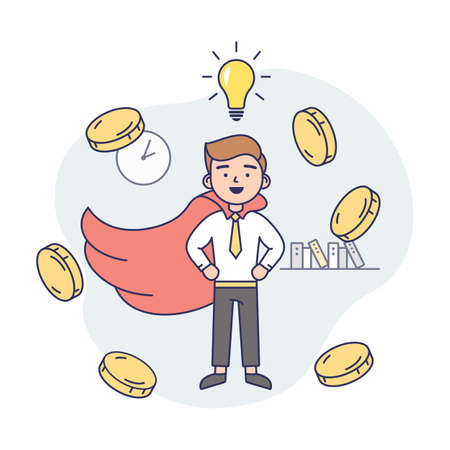 Concept Illustration On White Background. Vector Composition With Character. Linear Outline And Soft Colours. Man Wearing Business Office Clothes, Tie And Red Cloak. Money Coins Floating Around Him Illustration