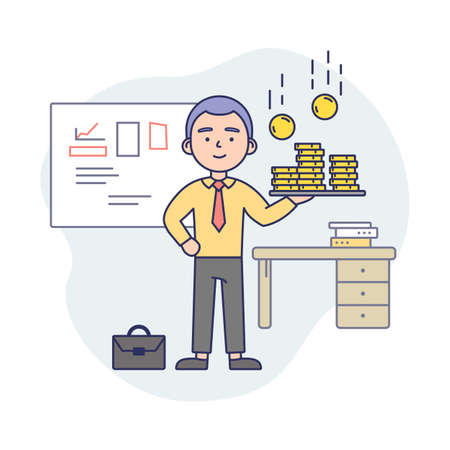 Business Life Concept Illustration In Cartoon Style. Vector Composition With Male Character And Elements. Linear Art With Outline. Man In Office Suit Holding Tray With Coins. Working Interior Behind