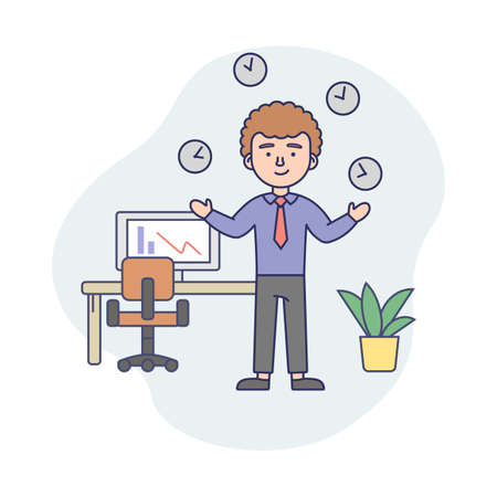 Business Life Concept Illustration In Cartoon Style. Vector Composition With Male Character And Elements. Linear Art With Outline. Time Management And Work Success Idea. Man, Office Suit, Clock Around