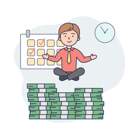 Business Life Concept Illustration In Cartoon Style. Vector Composition With Male Character And Elements. Linear Art With Outline. Businessman In Office Suit Levitating Over Money Heap. Work Items