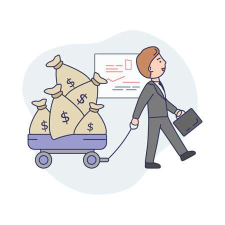 Business Life Concept Illustration In Cartoon Style. Vector Composition With Male Character And Elements. Linear Art With Outline. Businessman In Office Suit Walking With Money Bags. Work Interior Illustration