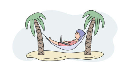 Illustration On White And Blue Background. Linear Vector Composition With Outline Objects And Female Character. Young Woman Lying In Hammock Between Palms At Summer Beach. Modern Remote Work Concept