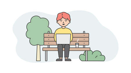 Illustration On White And Blue Background. Linear Vector Composition With Outline Objects And Male Character. Man Sitting On Bench Outside With Coffee And Laptop. Modern Remote Working Concept Design