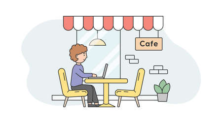 Illustration On White And Blue Background. Linear Vector Composition With Outline Objects And Male Character. Remote Modern Working Concept. Man Sitting At Cafe On Chair With Laptop. Outdoors Design