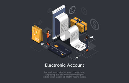 Isometric Composition On Dark Background With Text. Vector Illustration In 3D Style. Objects And Characters. Electronic Account Concept. Big Smartphone With Cheque. Credit Card, Shopping Bag, Gift Box Illustration