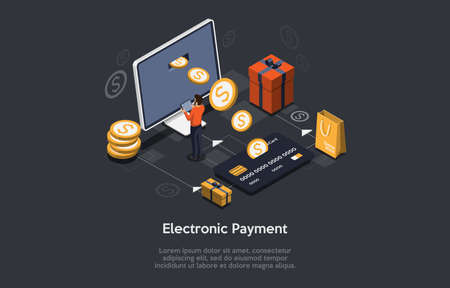 Isometric Composition On Dark Background With Text. Vector Illustration In 3D Style. Objects And Characters. Electronic Payment Concept. Computer Monitor With Coins Going Out Screen Into Credit Card Illustration