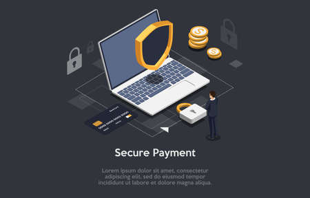 Isometric Composition On Dark Background With Text. Vector Illustration In 3D Style. Objects And Characters. Secure Payment Concept. Laptop With Lock And Safety Shield. Man Standing Near, Infographics