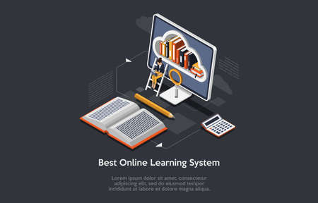Isometric Composition On Dark Background With Text. Vector Illustration In 3D Style. Objects And Character. Online Learning System Concept. Computer, Cloud Library On Screen. Woman With Laptop Sitting