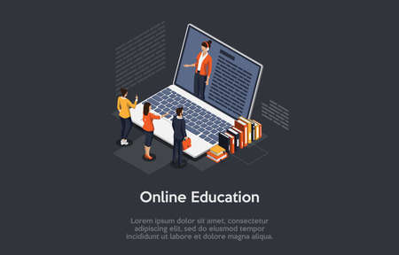 Isometric Composition On Dark Background With Text. Vector Illustration In 3D Style. Objects And Characters. Online Education Concept. Big Laptop, Female Tutor On Screen. Group Of People Standing Near