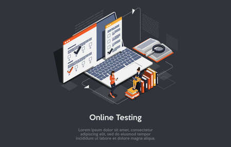 Vector 3D Illustration. Cartoon Isometric Design With Infographics. Online Testing Concept Art. Big Laptop, Papers With Information, Books. Two Characters Working. Modern Digital Remote Studying Ideas