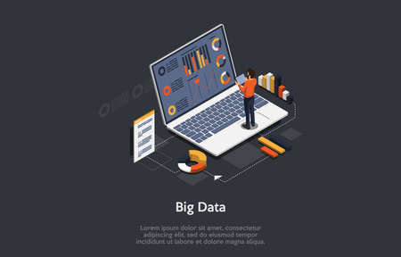 Vector 3D Illustration. Cartoon Isometric Design With Infographics. Big Data Concept Art. Laptop With Information On Screen Text, Charts, Graphs. Male Character Standing Near. Important Database