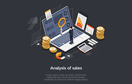 Vector 3D Illustration. Cartoon Isometric Design With Infographics. Sales Analysis Concept Art. Laptop With Information On Screen, Male Character Standing, Money Elements, Graphs And Charts Around Illustration