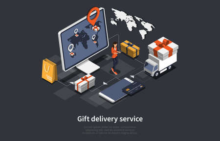 Vector 3D Illustration. Cartoon Isometric Design With Infographics. Gift Delivery Service Concept Art. Computer Monitor With Map And Navigation Sign. Female Character. Lorry, Shopping Bag, Credit Card Illustration