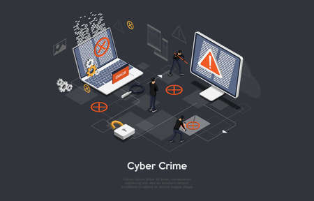 Cyber Crime Conceptual Art On Dark Background. Vector Illustration In Cartoon 3D Style, Isometric Design. People In Black Cracking Computers. Hackers, Online Theft Danger. Infographic Elements Around Illustration